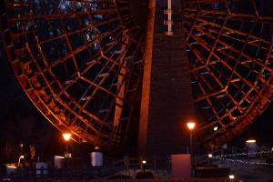 巨大水車のライトアップ