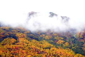 雲と山と黄葉